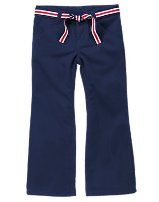 Girls Gym Navy Uniform Belted Bootcut Pant by Gymboree