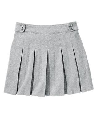 Girls Heather Grey Uniform Pleated Knit Skort by Gymboree