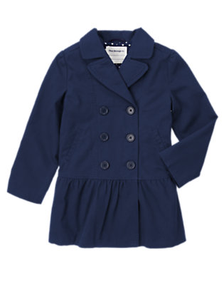 Girls Gym Navy Uniform Trench Coat by Gymboree