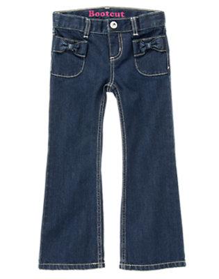 Girls Dark Wash Denim Bow Pocket Bootcut Jean by Gymboree
