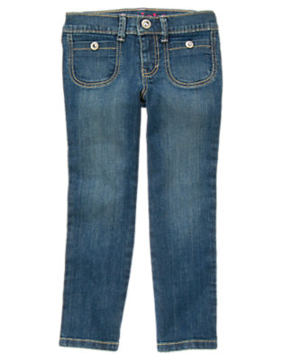 Medium Wash Denim Rhinestud Pocket Straight Leg Jean by Gymboree