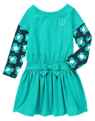 Girls Teal Blue Gem Flower Double Sleeve Dress by Gymboree