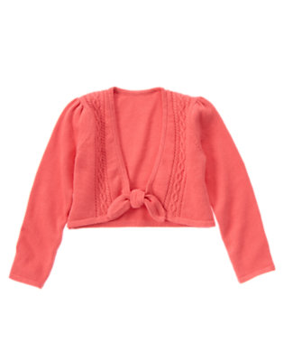 Girls Salmon Pink Cable Crop Sweater Cardigan by Gymboree