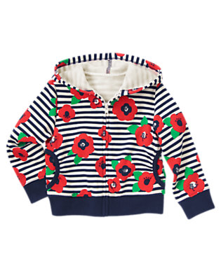 Girls Poppy Navy Stripe Poppy Stripe Fleece Hoodie by Gymboree