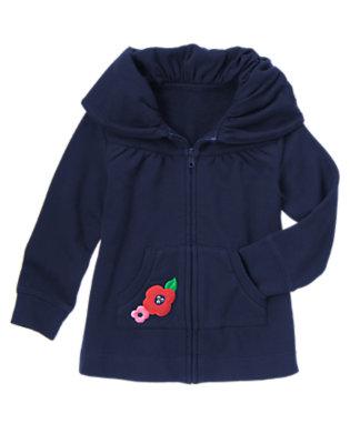 Girls Gym Navy Flower Shawl Collar Fleece Cardigan by Gymboree