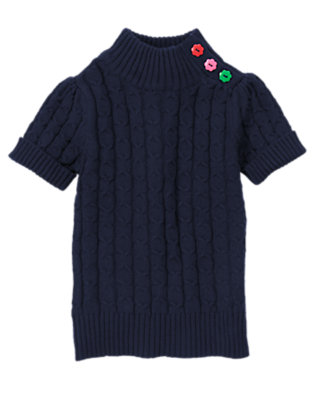 Girls Gym Navy Flower Button Cable Turtleneck Sweater by Gymboree