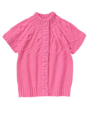 Girls Bright Pink Flower Button Cable Sweater Cardigan by Gymboree