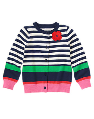 Girls Gym Navy Stripe 3-D Poppy Stripe Sweater Cardigan by Gymboree