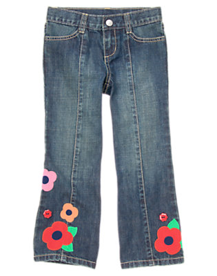 Girls Denim Flower Button Bootcut Jean by Gymboree