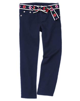 Girls Gym Navy Flower Belt Skinny Jean by Gymboree