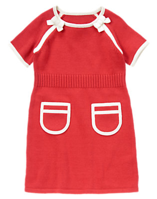 Girls Poppy Red Bow Tipped Sweater Dress by Gymboree