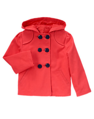 Girls Poppy Red Flower Button Hooded Jacket by Gymboree