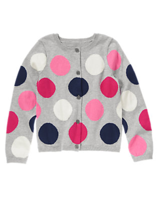 Girls Heather Grey Dot Big Dot Sweater Cardigan by Gymboree