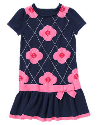 Girls Gym Navy Argyle Argyle Flower Sweater Dress by Gymboree