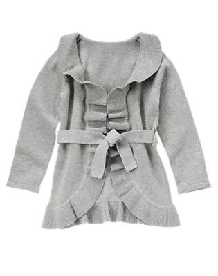 Girls Heather Grey Ruffle Belted Sweater Cardigan by Gymboree