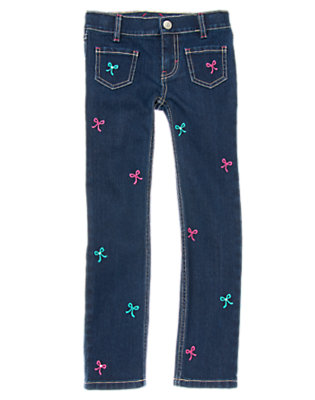 Girls Denim Gem Bow Skinny Jean by Gymboree