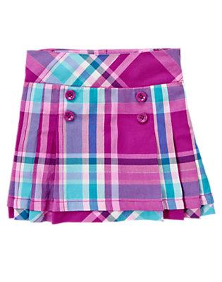 Girls Princess Purple Plaid Pleated Plaid Skort by Gymboree