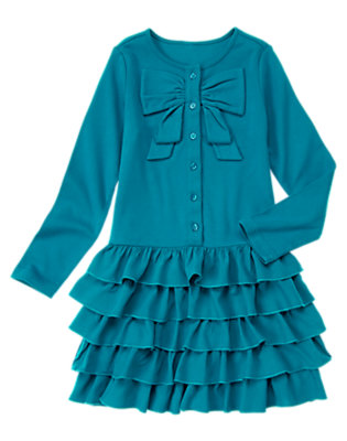 Girls Teal Blue Bow Ruffle Dress by Gymboree