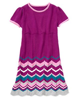 Girls Princess Purple Chevron Stripe Sweater Dress by Gymboree