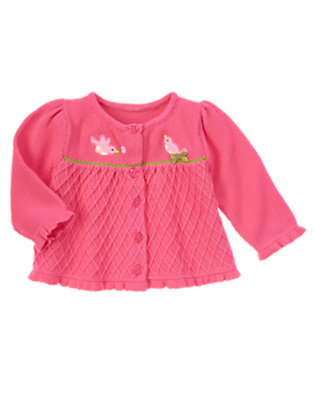 Baby Sweet Pink Birdie Cardigan by Gymboree