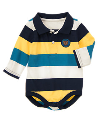 Beary Blue Stripe Stripe Polo Bodysuit by Gymboree