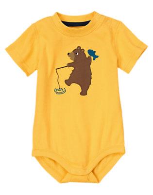Gold Bear Fishing Bodysuit by Gymboree