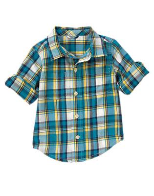 Beary Blue Plaid Plaid Shirt by Gymboree
