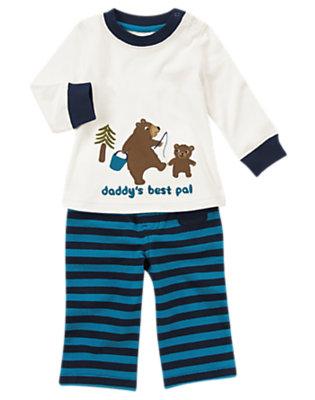 White/Beary Blue Stripe Bear Two-Piece Set by Gymboree