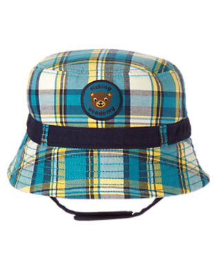 Beary Blue Plaid Bear Plaid Bucket Hat by Gymboree