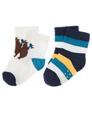 White/Beary Blue Stripe Bear Stripe Sock Two-Pack by Gymboree
