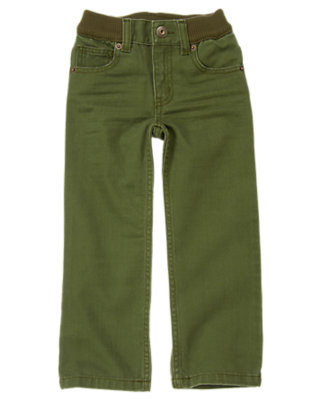 Boys Moss Green Ribbed Waist Colored Jean by Gymboree