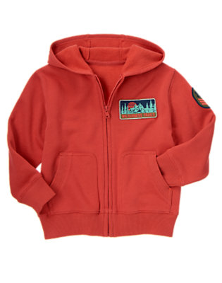 Campfire Red Wilderness Trails Patch Hoodie by Gymboree