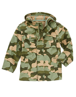 Moss Green Camo Camo Hooded Jacket by Gymboree