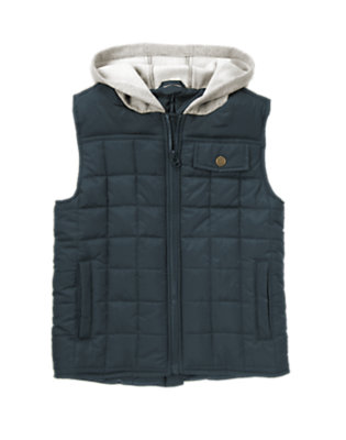 Soft Navy Hooded Puffer Vest by Gymboree