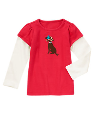 London Red Chic Dog Double Sleeve Tee by Gymboree