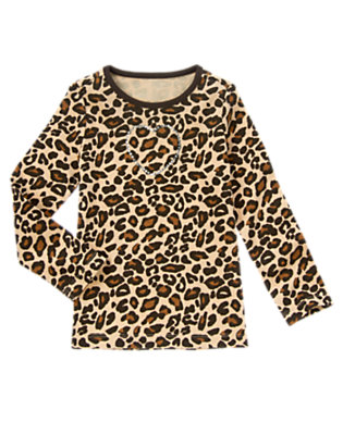 Tan Leopard Gem Heart Leopard Tee by Gymboree