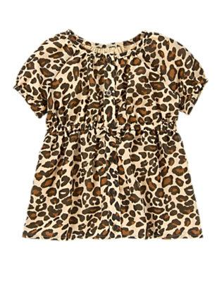 Girls Tan Leopard Leopard Chiffon Top by Gymboree