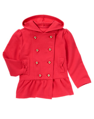 Girls London Red Double Button Fleece Hoodie Jacket by Gymboree