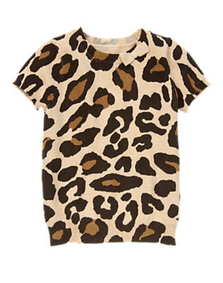 Girls Tan Leopard Bow Leopard Sweater by Gymboree