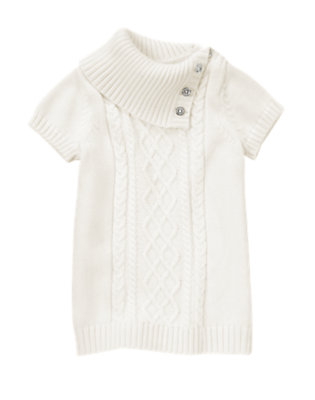 Girls Jet Ivory Gem Button Cable Sweater by Gymboree
