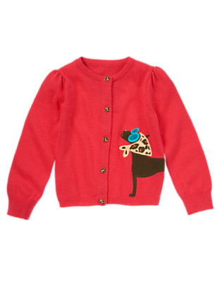 Girls London Red Chic Dog Leopard Button Sweater Cardigan by Gymboree
