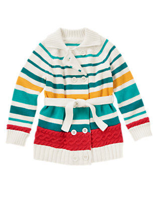 Girls Peacock Blue Stripe Stripe Double Breasted Sweater Duster by Gymboree