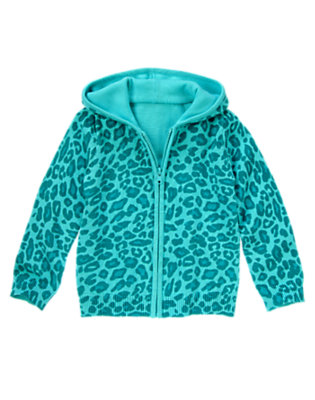 Girls Teal Leopard Leopard Sweater Hoodie by Gymboree