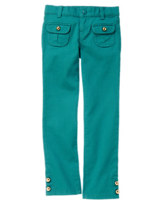 Girls Peacock Blue Button Pocket Jean by Gymboree