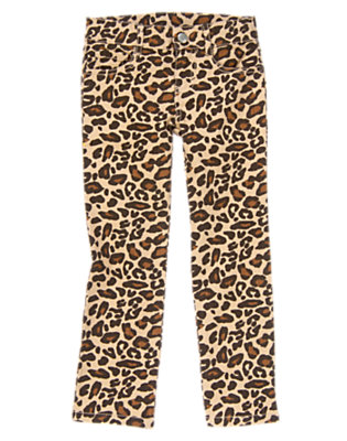 Tan Leopard Leopard Jean by Gymboree