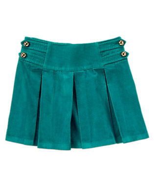 Girls Peacock Blue Button Pleated Corduroy Skort by Gymboree