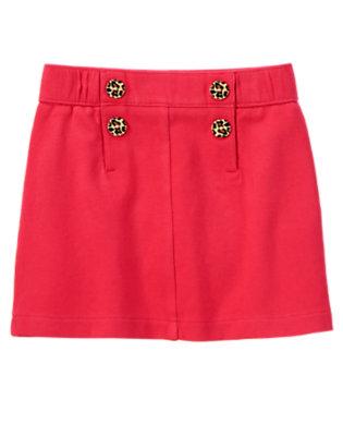 Girls London Red Leopard Button Ponte Skort by Gymboree
