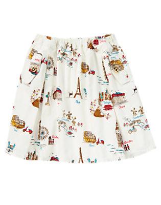 Girls Ivory Travel World Traveler Corduroy Skirt by Gymboree