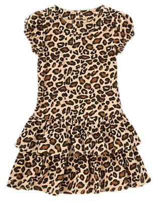 Girls Tan Leopard Leopard Ruffle Dress by Gymboree