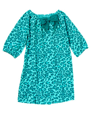 Girls Teal Leopard Bow Leopard Dress by Gymboree